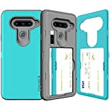 LG G6 Case, LG G6 Card Case, SKINU [USB Type C] [Teal] [Shockproof] [Dual Layer] [Card Slot] [Drop Protection] [Wallet] with Mirror and Adapter for LG G6 - Teal
