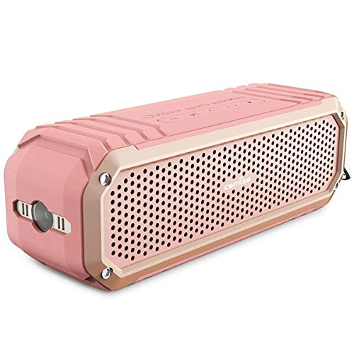 COMISO Bluetooth Speakers with Lights, Loud Dual Driver Wireless Bluetooth Speaker with HD Audio and Enhanced Bass, Wireless Stereo, Built in Mic, Aux Input, Long-Lasting Battery Life (Pink)