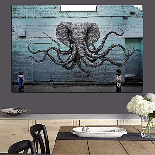 Wandbild Hybrid Elephant Octopus Creature Gemälde Druck Leinwand Pop Art Tier Wandbild Wohnzimmer Dekor A 20X30CM