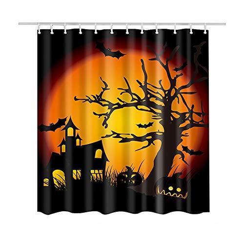 Souarts Duschvorhang Shower Curtain Duschvorhangringen Schimmelresistenter & Wasserabweisend Badewannenvorhang Halloween Schloss Baum drucken