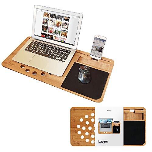 Mikamax – Lapzer Laptop Desk – Soporte Ordenador portatil – Mesa para Laptop – Grande – 100% Bambú – 59 x 31 x 2 cms – Lap desks – Soporte para Tablet – Incluye Mousepad y Compartimentos adicionales