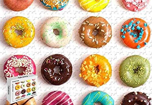 Houten puzzel 1000 stukjes,1000 Stukjes Puzzel - Voedsel Donut Houten Materialen Intellectuele Ontwikkeling
