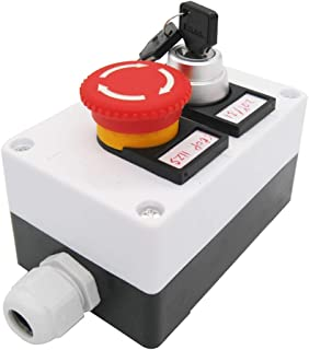 TWTADE /レッドキノコ非常停止1NC 1NOラッチング式押しボタンスイッチ、3ポジション2NOキーロックラッチング式ロータリーセレクトセレクタースイッチステーションボックス(3年間品質保証)hz-11ZS-20Y
