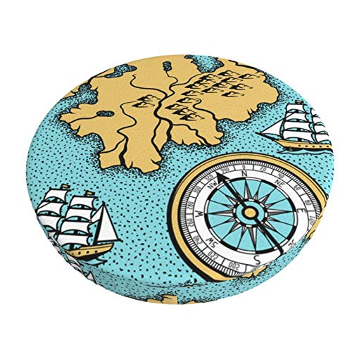 ABODS Old Navigation map Bar Stool Covers Round Cushion Chair Slipcover Washable for Home Hotel