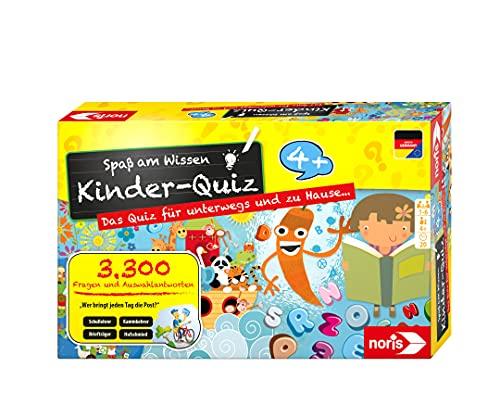 Noris 606013595 Kinder-Quiz – Quizspiel mit 3300 Fragen und Wahlmöglichkeiten, für 1 - 6 Spieler, ideal für Zuhause oder auf Reisen, für Kinder ab 4 Jahren