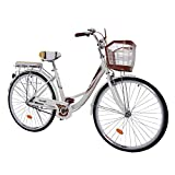 26 inch Beach Cruiser Bike for Women, High Tensile Carbon Steel Commuting Bike, Sigle-Speed...