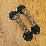 WanJiaMen'Shop Estilo Industrial con manija para Muebles Puerta corredera manijas de Madera Negra Vintage Antiguo Europeo Cuerda de Hierro Forjado, 23X4 CM