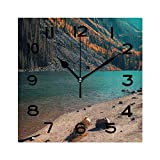 ALUONI Frameless Decorative Clock Young Woman Hiking in Aspen Colorado 8 Inch Square Wall Clock for Living Room Bedroom Office Hotel No082227