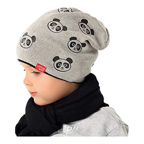AJS Mütze Übergangsmütze Strickmütze Junge Bären Kindermütze Frühling Herbst, Farbe: Hellgrau