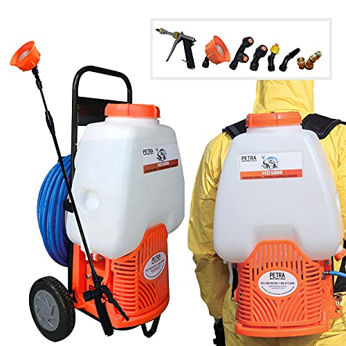 PetraTools Powered Backpack Sprayer with Custom Fitted Cart and 100 Foot Commercial Hose, 2 Hoses...