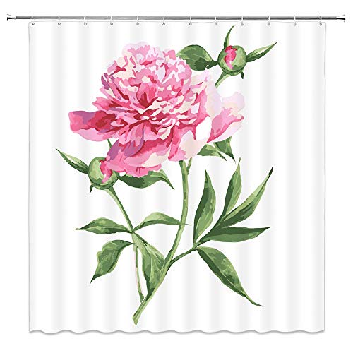 N\A Decorazioni per Fiori ad Acquerello Tende da Doccia Peonia Vintage Pittura Botanica Giardino di Primavera Fiore Natura Rosa Bianco Tessuto Tende da Bagno Poliestere Impermeabile con Ganci