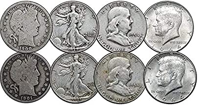 1892-1964 Barber, Walking Liberty, Franklin & Kennedy Silver Half Dollars, 4 Face, 8 Coins