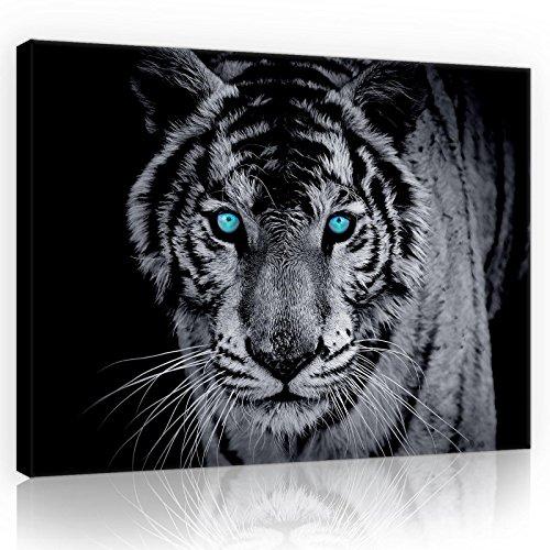 Forwall Bilder Tiger schwarz weiß Tiere Modern Schlafzimmer Wohnzimmer Leinwandbilder Wandbild Kunstdruck Wandbilder Wand Bild auf Leinwand Aufhängefertig (10202, O1 (100 x 75 cm))
