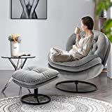 Accent Chair with Footrest Soft Velvet Chair 360 Degree Swivel Lazy Sofa Lounge Armchair with Metal Base Frame for Living Room Bedroom Reading Room Home Office-Grey