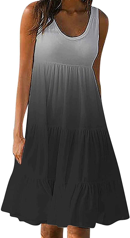 Summer Plus Size Tank Dresses for Women Sleeveless Gradient Beach Sundress O Neck Party Gowns Casual Ruffle Midi Skirt