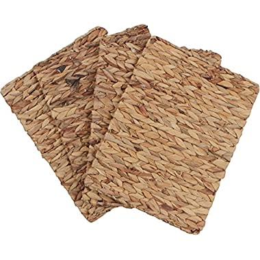 16 x 12  Rectangular Woven Indoor or Outdoor Placemats of Natural Water Hyacinth by Trademark Innovations (Set of 4)