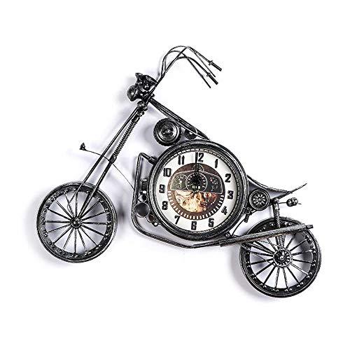 WHSS Wall Clock (Negro Y Plata) Iron Motocicleta Colgante Reloj De Pared Decorativo De Las Decoraciones De La Pared Cuelgan Tapices Decorativos Tienda De Ropa De La Decoración 74 * 58 * 4.5cm