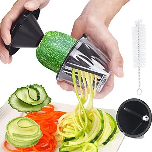XREXS Spiralizzatore di Verdure 2 In 1, Spaghetti di Zucchine Attrezzo, Portatile Mandolina per Verdure, Tagliaverdure Manuale, Cucina Accessori Particolari per Verdure, Cetrioli, Carote, Zucchine