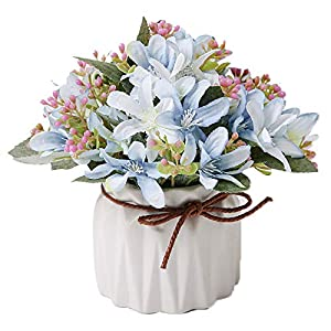 TANSHINE Artificial Silk Narcissus Potted Flowers Arrangement Bonsai Garden Wedding Centerpieces Windowsill Décor Blue Narcissus