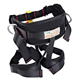 Oumers Enhanced Version Harness, Protect Waist Leg Climbing Harness, Waistbelt Wider Belt for Fire Rescue Higher Level Caving Rock Climbing Rappelling Equip Women Man Child Half Body Black