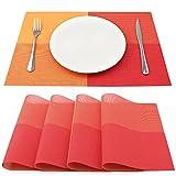 SueH Design Manteles Individuales Juego de 4, Salvamanteles Individuales en PVC para Comedor 45 * 30 CM, Rojo