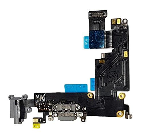 Smartex Conector de Carga de Repuesto Compatible con iPhone 6 Plus Gris Oscuro – Dock de repeusto con Cable Flex, Altavoz, Antena, Micrófono y Conexión Botón de Inicio.