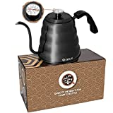 OPUX Gooseneck Kettle for Pour Over Coffee | Kettle for Coffee Tea with Thermometer, Stovetop Pourover Kettle Hand Drip Barista with Long Thin Spout, Exact Temperature Brewing | Glossy Black 40 fl oz