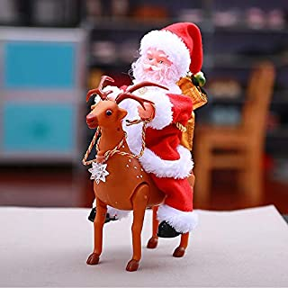 JSZMD Santa Claus Riding Electric Deer Electric Music Doll Toys For Children Christmas Gifts