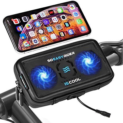 So Easy Rider 9 en 1 Soporte Móvil Moto con Cargador USB y Ventilador,Soporte Teléfono Moto Montaña para Bici Scooter GPS Bolsa Manillar Funda Impermeable para 4.3'-6.3' iPhone Galaxy Huawei