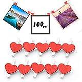 100 clips de madera para fotos, mini pinzas de madera con forma de corazón para colgar fotos, clips de madera para colgar fotos, notas y decoración de fiestas (rojo)