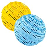 BIO CERA Green Eco-Friendly Laundry Ball Reusable 4 Years(1100 Times) Washes (Yellow and Blue, Set of Double)- Chemical Free, Detergent Replacement
