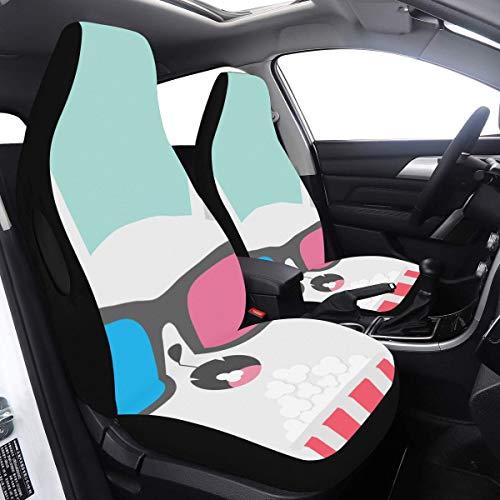 2-teiliges Set Auto-Heckabdeckung Coole Cat Wear-Brille Schutzsitzbezüge Kompatibel mit Airbags Universal Fit für PKW LKWs und SUVs Autoabdeckung Universal