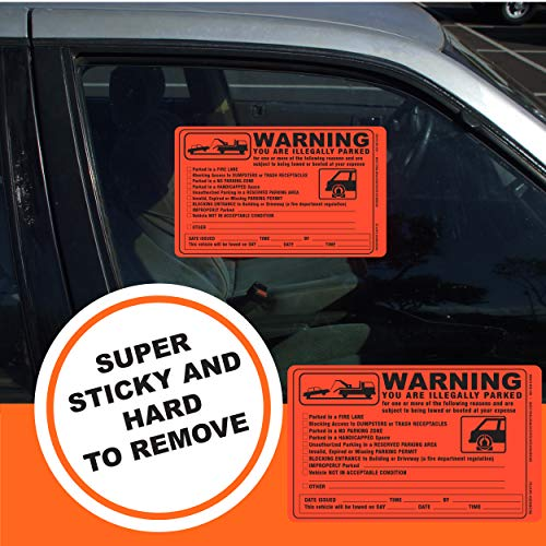 Parking Violation Sticker - Vehicle Illegally Parked Tow Notice - Parking Violation Notice - No Parking Warning Stickers - 5.5 x 7.5 Hard to Remove Stickers - Pack of 50 (Orange) Photo #7