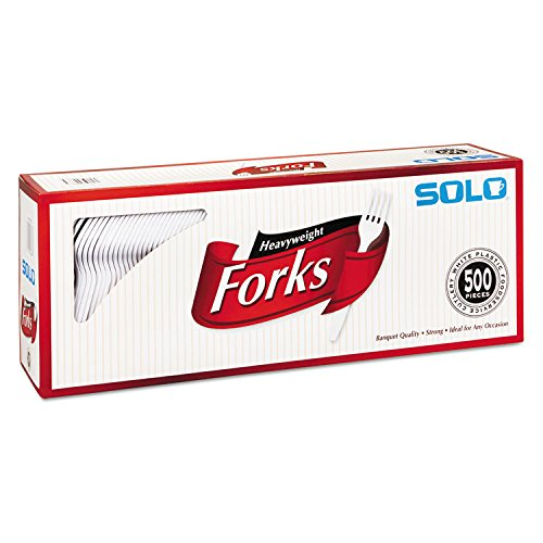 SOLO Cup Company Heavyweight Plastic Cutlery, Forks, White, 6.41 In, 500/Carton, 500 Pieces