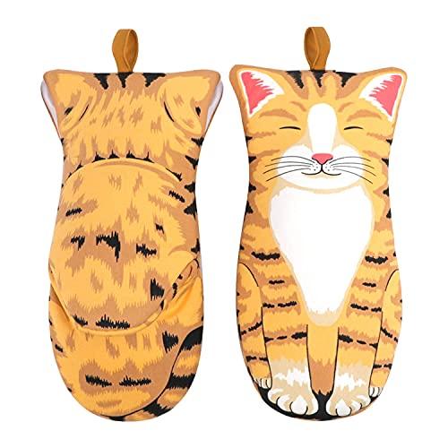 1 par 3d Dibujos animados lindo gato de garra horno guantes de barbacoa, algodón largo espeso aislamiento de horneado microondas resistente al calor antideslizante Guantes de cocina grande naranja gat