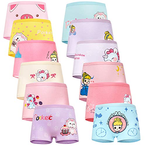JackLoveBriefs 12 Pack Mädchen Pantys Boxershorts Unterwäsche aus Baumwolle ( Größe:L)