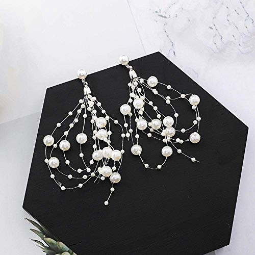 ZJL Stylish Simplicity Earring Exquisite Draping Tassels Exaggerate The Pearl-Drop Earrings of The Bride's Glamour Earrings