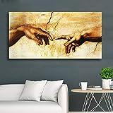 ¡Creación de lienzos de Adán! ¡mano de Dios! Sala de estar mural religioso clásico famoso cartel de impresión de arte40X80CM