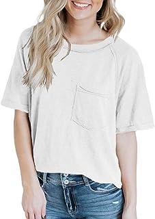 Womens Summer Casual T Shirts Crew Neck Short Sleeve...