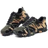 Hombre Transpirable Zapatos De Trabajo Ligero Anti-perforación Anti-Piercing Zapato De Camuflaje Zapatos Deportivos(Size:37,Color:Verde)