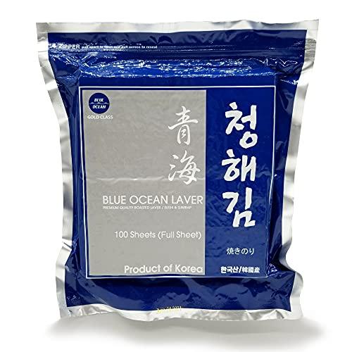 Blue Ocean Sushi Nori Seaweed Full Size 100 Sheets 280Gram Organic Yaki Roasted Rolls Wraps 100% Natural Laver Fresh Premium Thick Quality (100)