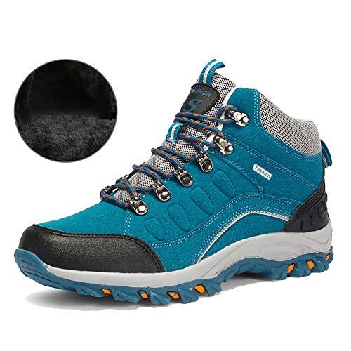YCKZZR Outdoor Schuhe Frauen Männer Winter Warme Wanderschuhe Frauen Männer Plüsch Baumwolle Kletterschuhe Frauen Außerhalb Schnee Damen Sport Turnschuhe mit Fell,Blau,44