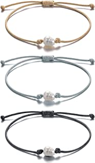 Waterproof Friendship Bracelets Single Pearl Black Cord Bracelets Handmade for Girls Teens Women 3pcs
