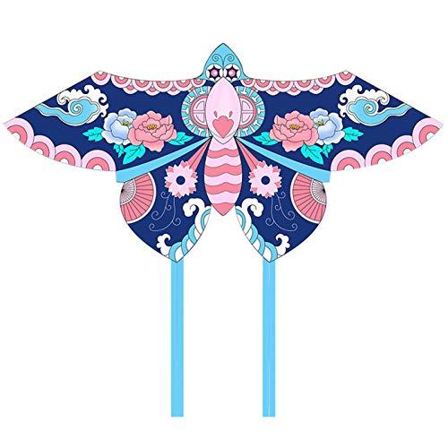 DPPAN Kite-paket vacker stor lättflyerdrake för barn – den är stor! 177 cm bred med lång svans 30 cm lång perfekt för strand eller parken, lättflydracka för pojkar och flickor, blå_260 m nudel