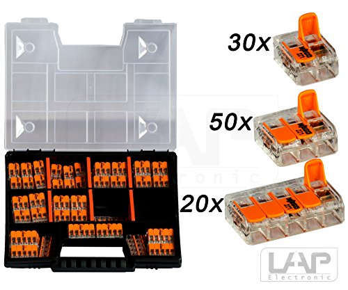 WAGO Sortiment Set NR 1 Variobox Wagoklemmen Box Hebelklemmen 221-412 | 221-413 |221-415 | 100 Stück incl. Sortimentbox
