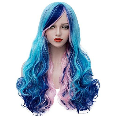 Mildiso Perücke Damen Farbe/Bunt Blau Lang Locken Perücken mit Pony Natürlich Wig/Für Frauen Anime Alltag Cosplay Kostümparty 031b