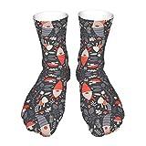Calcetines largos de algodón de WAUKaaa sobre el tubo de pantorrilla, calcetines con patrón de gnomos, para hombre y mujer.