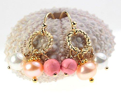 Ohrhänger Süßwasserperlen rosa Türkis vergoldet Perlenohrringe Perlenohrhänger weiß echte Perlen Farbe: Gold