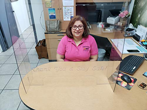 HeatMax 30 x 30 Freestanding Protective Sneeze Guard with Unique Engraved Message'Thank You & Stay Safe'. Ideal Protector Shield for desks, checkout stations, offices, etc. OVER 2000 HAPPY CUSTOMERS!