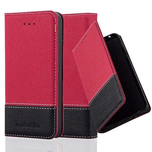 Cadorabo Funda Libro para Apple iPhone 5 / iPhone 5S / iPhone SE en Rojo Negro - Cubierta Proteccíon con Cierre Magnético, Tarjetero y Función de Suporte - Etui Case Cover Carcasa